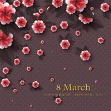March 8 greeting card. March 8 greeting card for International Womans Day. Paper cut flowers with golden glitter text, holiday background. Vector illustration Stock Images