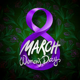 March 8 greeting card. International Womans Day. vector. black background Stock Photos