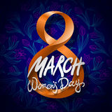 March 8 greeting card. International Womans Day. vector. black background Stock Photo