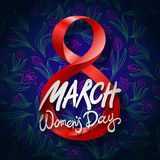 March 8 greeting card. International Womans Day. vector. black background. Art stock illustration