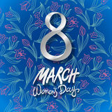 March 8 greeting card. International Womans Day. vector. blue background. flower tulip Stock Images