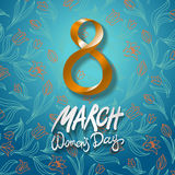 March 8 greeting card. International Womans Day. vector. blue background. flower tulip. Art Royalty Free Stock Photos