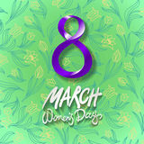 March 8 greeting card. International Womans Day. vector. green background. flower tulip. Art Stock Image