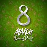 March 8 greeting card. International Womans Day. vector. green background. flower tulip. Art Royalty Free Stock Photos