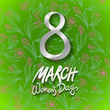 March 8 greeting card. International Womans Day. vector. green background. flower tulip Stock Photography