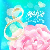 March 8 greeting card. International Womans Day. vector. pink rose. blue light background. Art Stock Photo