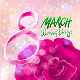 March 8 greeting card. International Womans Day. vector. pink rose. light background Stock Images