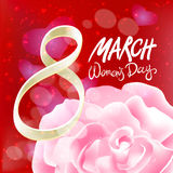 March 8 greeting card. International Womans Day. vector. pink rose. red light background Royalty Free Stock Photo
