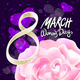 March 8 greeting card. International Womans Day. vector. pink rose. violet light background Stock Photography