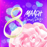March 8 greeting card. International Womans Day. vector. pink rose. violet light background Royalty Free Stock Photography