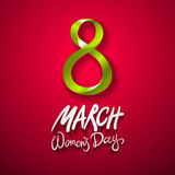 March 8 greeting card. International Womans Day. vector. red background Stock Image