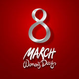 March 8 greeting card. International Womans Day. vector. red background Royalty Free Stock Image