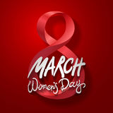 March 8 greeting card. International Womans Day. vector. red background Stock Photography