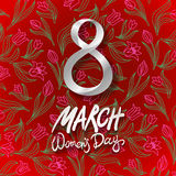 March 8 greeting card. International Womans Day. vector. red background. flower tulip Royalty Free Stock Photos