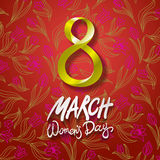 March 8 greeting card. International Womans Day. vector. red background. flower tulip Stock Photo