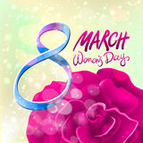 March 8 greeting card. International Womans Day. vector. red rose. light background. Art stock illustration