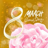 March 8 greeting card. International Womans Day. vector. red rose. light background. Art royalty free illustration