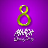 March 8 greeting card. International Womans Day. vector. violet background. Art stock illustration