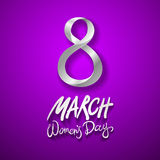 March 8 greeting card. International Womans Day. vector. violet background. Art Stock Photo