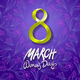 March 8 greeting card. International Womans Day. vector. violet background. flower tulip. Art Stock Image