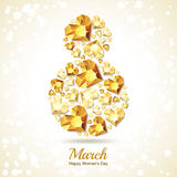 8 March greeting card, International Women`s Day. Number eight with 3d gold heart diamonds, gems, jewels. Concept for holiday banner, poster, party invitation royalty free illustration