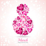 8 March greeting card, International Women`s Day. Number eight with 3d pink heart diamonds, gems, jewels. Concept for holiday banner, poster, party invitation vector illustration
