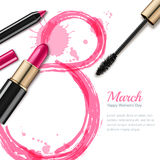 8 March  greeting card, International Women`s Day. Pink lipstick, mascara, pencil and watercolor number eight. 8 March  greeting card, International Women`s Day Royalty Free Stock Photo