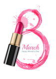 8 March  greeting card, International Women`s Day. Pink lipstick and watercolor number eight. 8 March  greeting card, International Women`s Day. Pink lipstick Royalty Free Stock Photo
