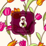 8 March greeting card, International Women's Day. stock illustration