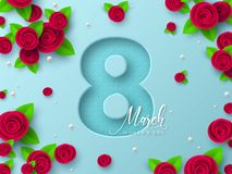 8 March greeting card for Womens Day. 8 March greeting card for International Womens Day. 3d paper cut number 8 with roses and leaves, turquoise background stock illustration