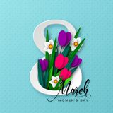 8 March greeting card for International Womens Day vector illustration