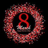 8 of March greeting card with lettering and circle made of many hearts. Royalty Free Stock Image
