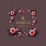 March 8 greeting card. March 8 greeting card for International Womans Day. Paper cut flowers with golden glitter text, holiday background. Vector illustration Royalty Free Stock Images