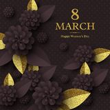 March 8 greeting card. March 8 greeting card for International Womans Day. Paper cut flowers with golden glitter text, holiday background. Vector illustration Royalty Free Stock Image