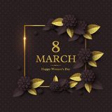 March 8 greeting card. March 8 greeting card for International Womans Day. Paper cut flowers with golden glitter text, holiday background. Vector illustration Stock Photography