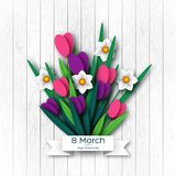 March 8 greeting card. March 8 greeting card for International Womans Day. Paper cut tulips and narcissus, wood texture background. Vector illustration Stock Illustration