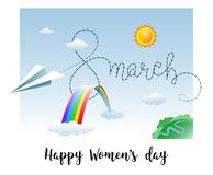 8 March greeting card with Paper airplane, Clouds and Rainbow. Vector illustration Royalty Free Stock Photos