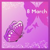 March 8. Greeting card purple tones with a butterfly. E card decorated with leaves. Royalty Free Stock Photography