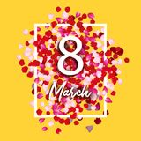 8 march greeting card with rose petals. 8 march - woman s international day. Vector holiday beautiful illustration.  Vector Illustration