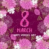 8 March greeting card. Template with flower frame. International Women`s day poster, flyer or invitation. Vector illustration Royalty Free Stock Photography