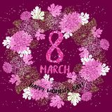 8 March greeting card. Template with flower wreath. International Women`s day poster, flyer or invitation. Vector illustration Stock Photo