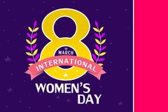 8 March greeting card template, International Women`s day background or brochure.  royalty free illustration
