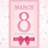March 8 greeting card template. International Women`s day background or brochure. Vector illustration Vector Illustration