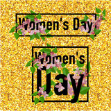 8 March greeting card. Template for International Women`s Day. With gold glitter numeral 8. Ideal for invitations, posters, cards, banners, flyers, postcards Royalty Free Stock Photo