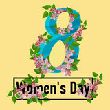 8 March greeting card. Template for International Women`s Day. With numeral 8. Ideal for invitations, posters, cards, banners, flyers, postcards etc Royalty Free Stock Photos