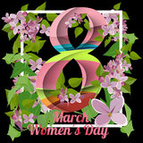 8 March greeting card. Template for International Women`s Day. With numeral 8. Ideal for invitations, posters, cards, banners, flyers, postcards etc Royalty Free Stock Image