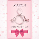 March 8 greeting card template. International Womens day background. Royalty Free Stock Images