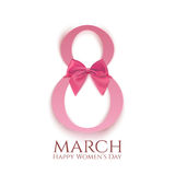 8 March greeting card template isolated on white. International Womens day background or brochure. Vector illustration Vector Illustration