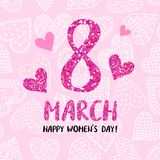 8 March greeting card. Template on pink background with hearts. International Women`s day poster, flyer or invitation. Vector illustration Stock Photography