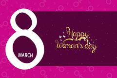 8 March greeting card template with pink background. International Women`s day background or brochure.  Stock Illustration